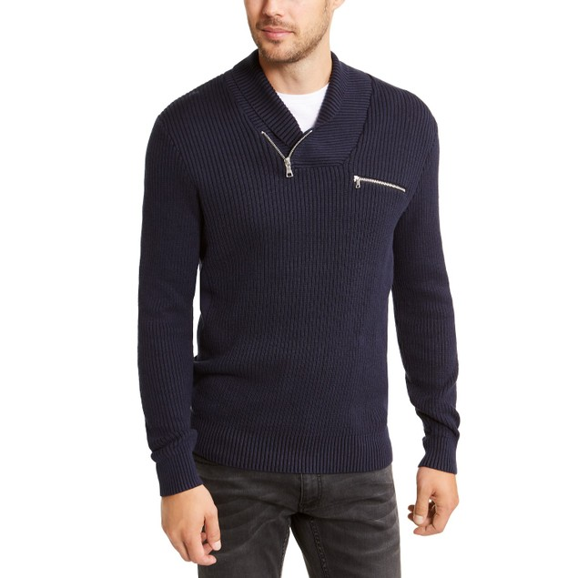 INC International Concepts Echo Shawl Collar Zip Sweater Navy Extra Small