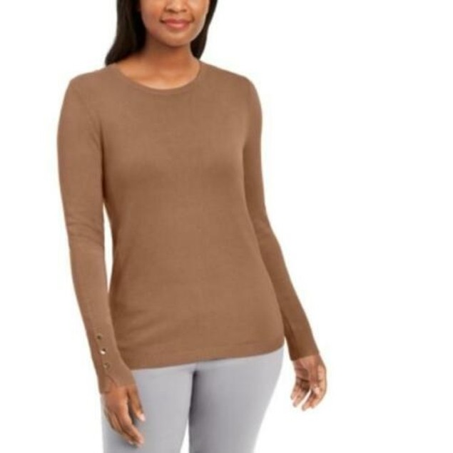 JM Collection Women's Button-Cuff Crewneck Sweater Brown Size X-Large