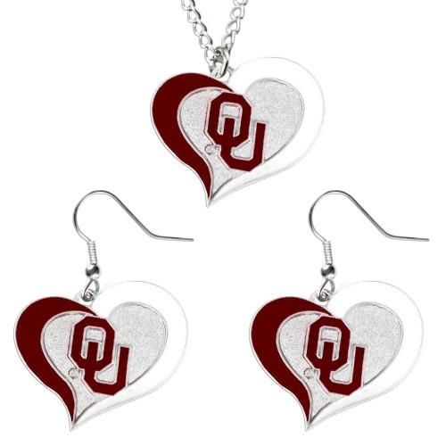 Oklahoma Sooners Swirl Heart Dangle Logo Necklace and Earring