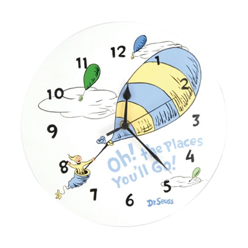 Trend Lab Wall Clock - Dr. Seuss Blue Oh The Places You'Ll Go