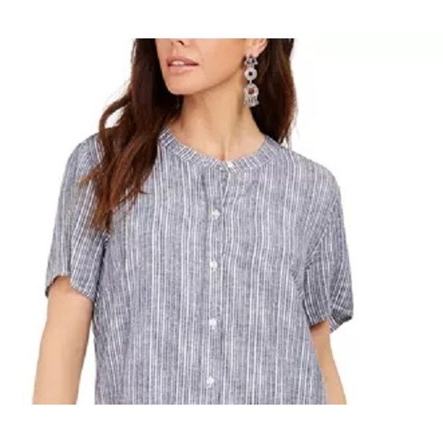 Style & Co Women's Striped Button-Front Linen-Blend Med Blue Size Small