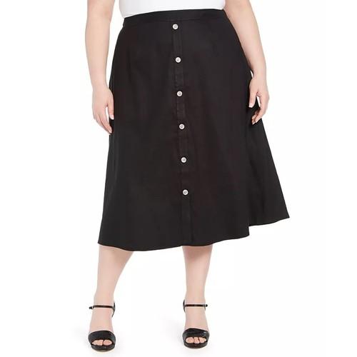 Calvin Klein Women's Plus Button Trim Linen Midi Skirt Black Size 18W