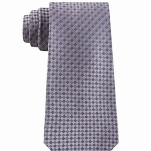 Kenneth Cole Reaction Men's Micro Checkerboard Slim Silk Tie Gray  One Size