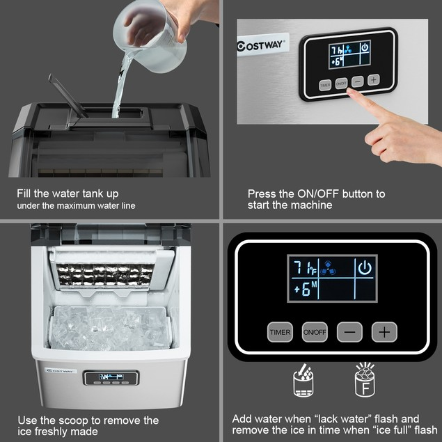 Stainless Steel Ice Maker Machine Countertop 48Lbs/24H Self-Clean w/ LCD Di