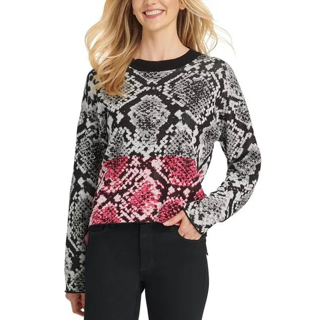 DKNY Women's Colorblock Python Print Sweater Dark Grey Size Small