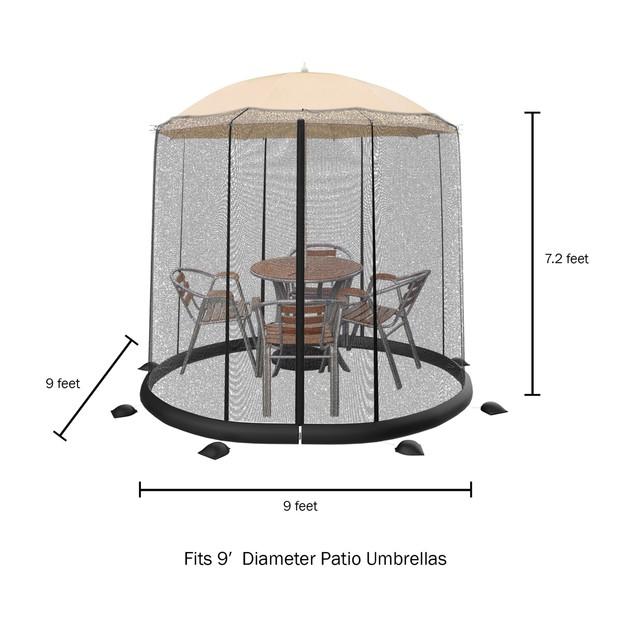 Patio Umbrella Mosquito Net- Bug Screen for 9ft. Patio Table Umbrellas