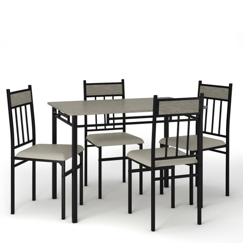 Costway 5 Piece Faux Marble Dining Set Table and 4 Chairs Kitchen Breakfast