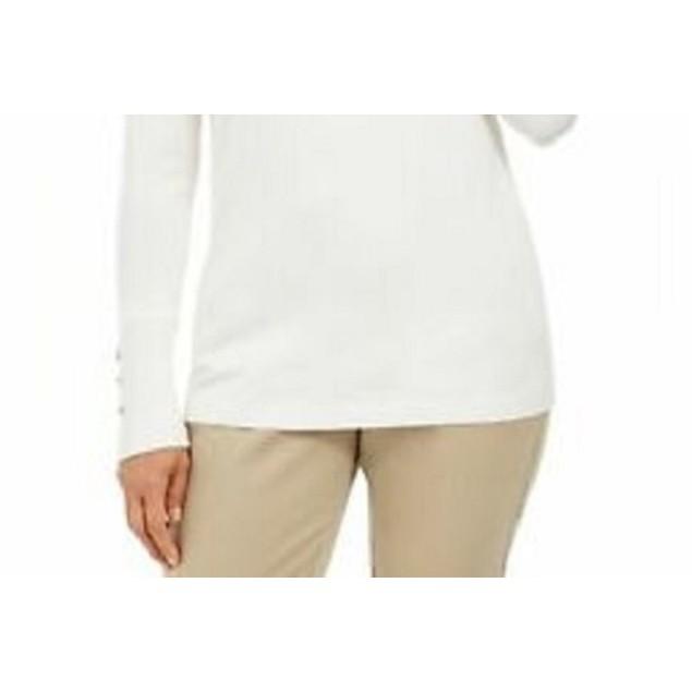 JM Collection Women's Stud-Sleeve Pullover Turtleneck Natural Size X-Large