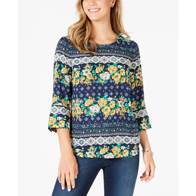 Charter Club Women's 3/4 Sleeve Printed Top Blue Size Large