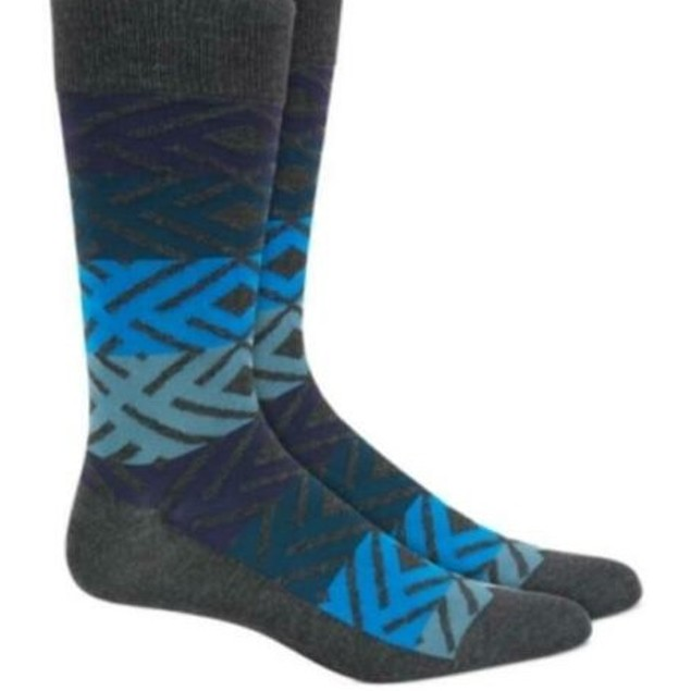 Alfani Men's Printed Socks Blue Size Regular