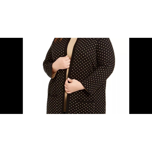 Anne Klein Women's Metallic Polka Dot Cardigan Sweater Black Size 2X