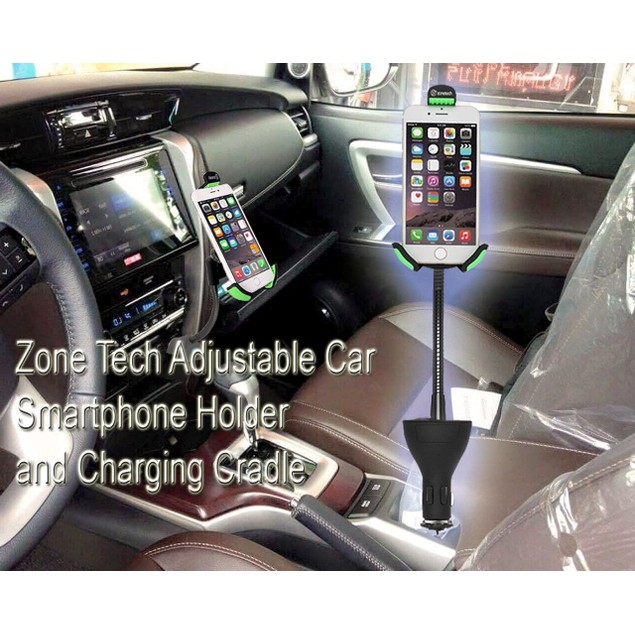 Zone Tech 360 Rotation Car Mount Charger Phone Dock Cradle Holder USB
