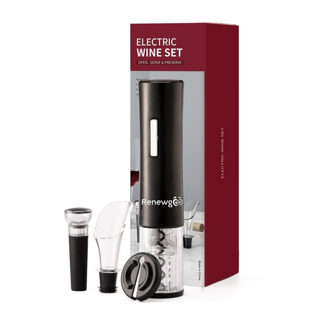 Renewgoo Wine Opener Set 4-in-1 Cordless Electric Automatic Corkscrew,