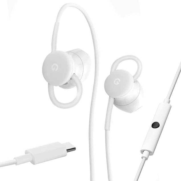 Google Wired Earbuds w/ Microphone and Volume Control - White