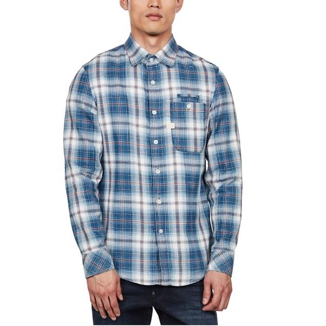 G-Star Raw Men's Bristum Slim-Fit Flannel Plaid Shirt  Blue Size XX-Large
