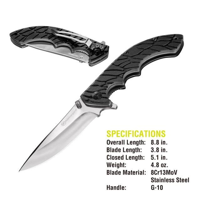 Kilimanjaro Makazi 8 inch Folding Knife with Black Satin Blade - 910083