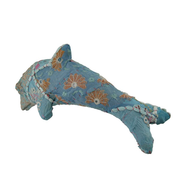 Blue Vintage Sari Fabric Covered Paper Mache Statues