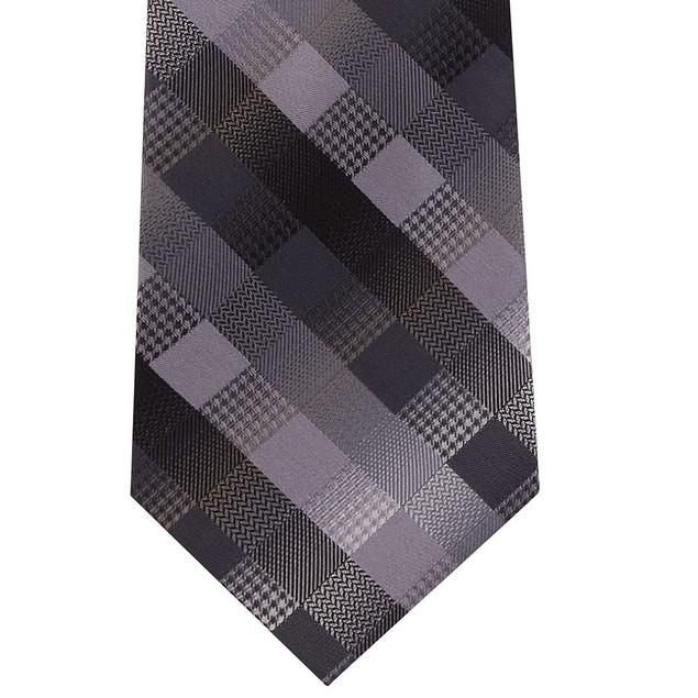 Van Heusen Men's Bruck Plaid Tie Blue Size Regular