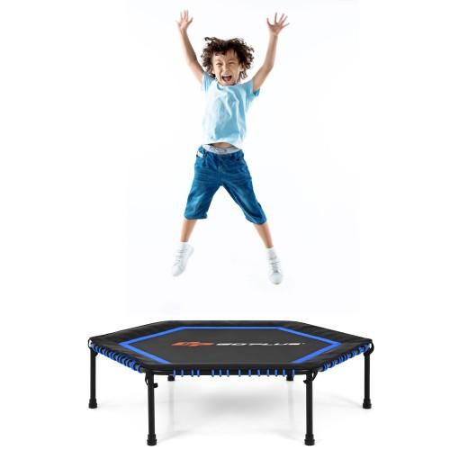 Goplus 50'' Hexagonal Fitness Trampoline Exercise Rebounder W/Pad for Kids
