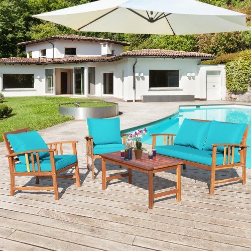 Costway 4PCS Wooden Patio Furniture Set Table Sofa Chair Cushioned Garden T
