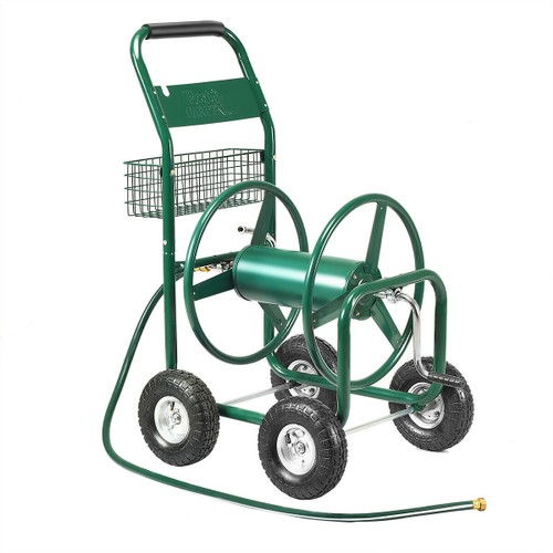 Garden Rolling Cart Heavy Duty With Steel Water Hose Holder With Basket Gre