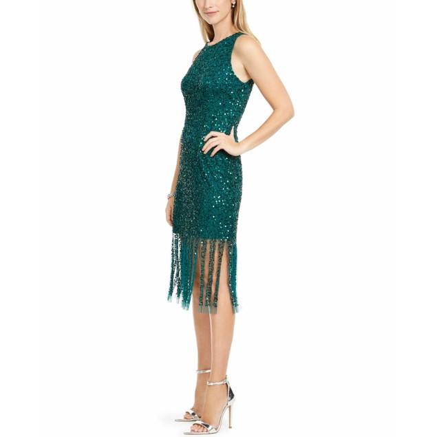 Adrianna Papell Women's Beaded Short Dress Dark Green Size 14