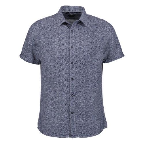 Rosso Milano Modern Fit Short Sleeve Navy Marbel Dot Dress Shirt