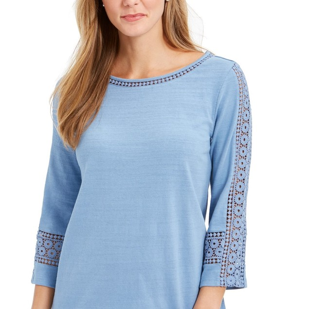 Charter Club Women's Crochet-Inset Top  Blue Size Extra Large