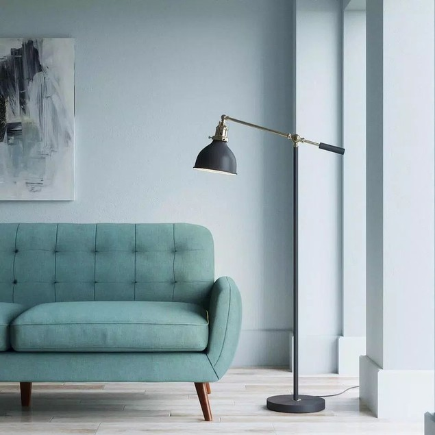 "Hampton Bay 55"" Industrial Balance Floor Lamp, Matte Black & Antique Brass"