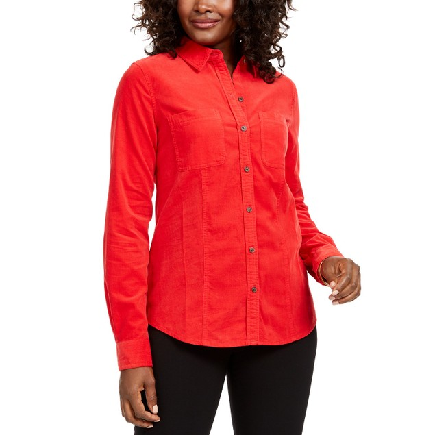 Charter Club Women's Solid Corduroy Shirt Red Size Medium