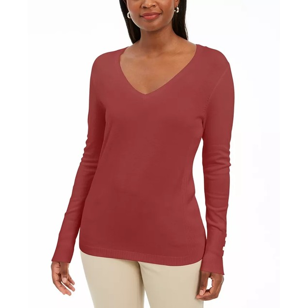 JM Collection Women's Embellished Sleeve V Neck Sweater Red Size XX-Large