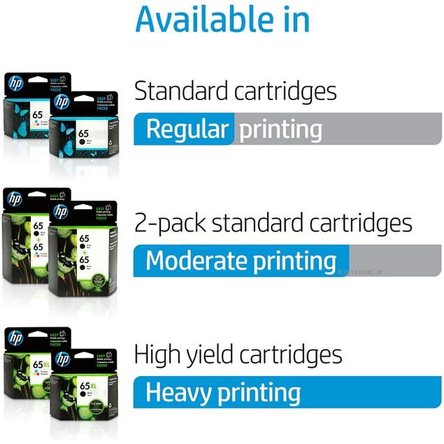 HP 65XL   Ink Cartridge   Works with HP Deskjet 2600 Series, 3700 Series, HP ENVY 5000 Series, HP AMP 100, 120, 125, 130   Tri-color   N9K03AN