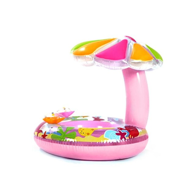 Inflatable Child Swim Ring With Palm Tree Sun Shade Blue or Pink