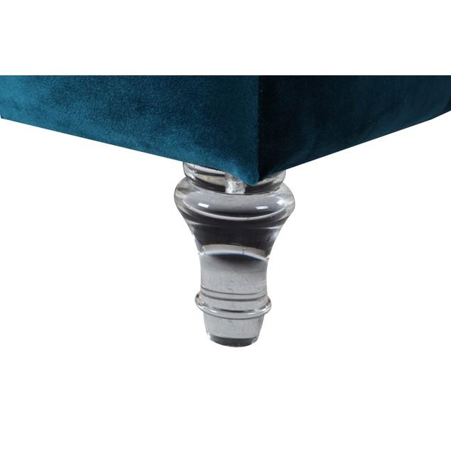 Chic Home David Velvet Button Tufted Clear Acrylic Legs Ottoman