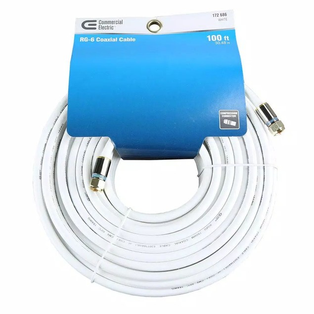Commercial Electric 100 Feet RG-6 Coax Cable with Compression Connector,