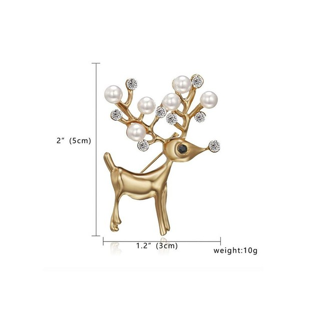 Novadab Pearl studded Golden Christmas Stag Brooch