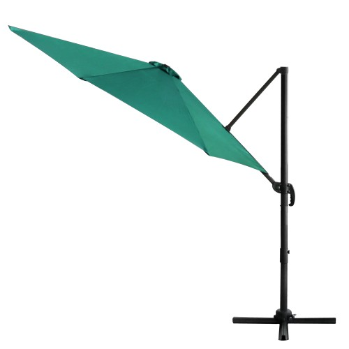 10ft Umbrella Side Hanging Offset Outdoor Patio 360° Rotation System Cross Base Green