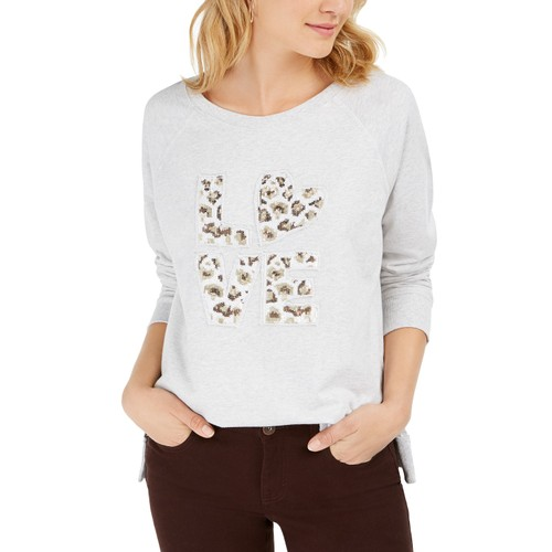 Style & Co Women's Cotton Graphic Sweatshirt  White Size X Large