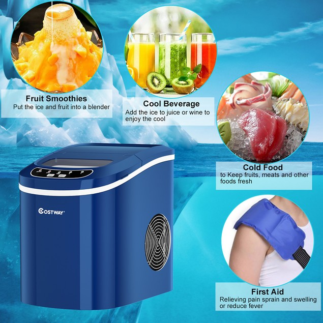 Costway Portable Compact Electric Ice Maker Machine Mini Cube 26lb/Day ABS