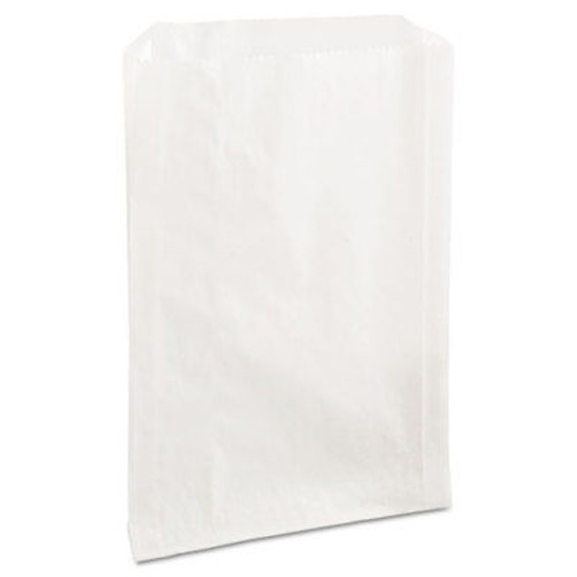 Grease-Resistant Sandwich Bags, 6 1/2 x 1 x 8, White, 2000/Carton