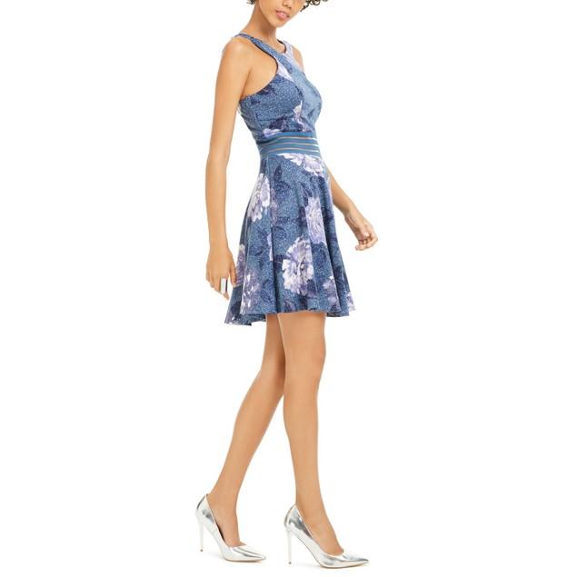 City Studios Juniors Glitter Floral-Print Skater Dress Navy Size Zero
