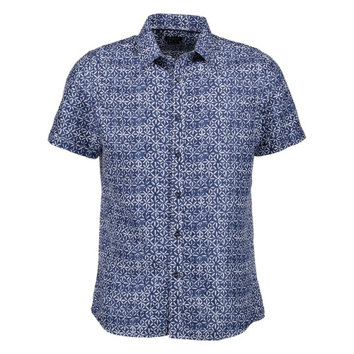 Rosso Milano Modern Fit Short Sleeve Navy Geometric Floral Dress Shirt
