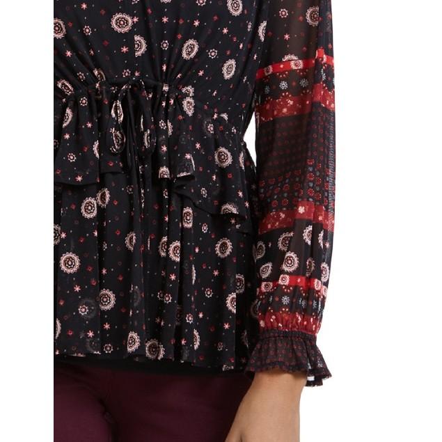 Style & Co Women's Tie-Waist Peasant Blouse Black Size Large