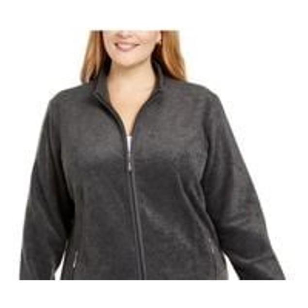 Karen Scott Women's Zip Front Jacket Charcoal Size 1X