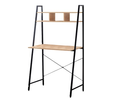 Offex Black Steel Frame Desk with Bookcase Above Was: $132.99 Now: $109.99.