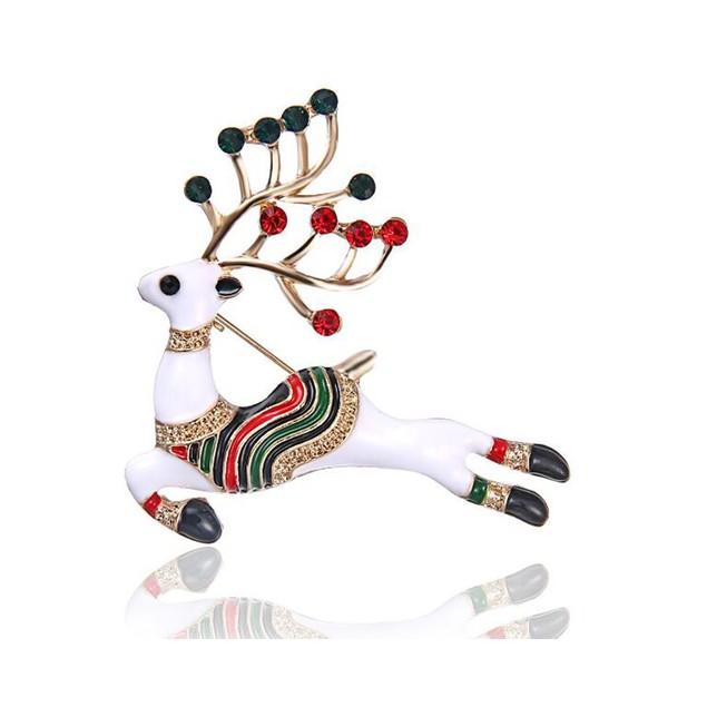 Novadab Alabaster Christmas Raindeer Brooch