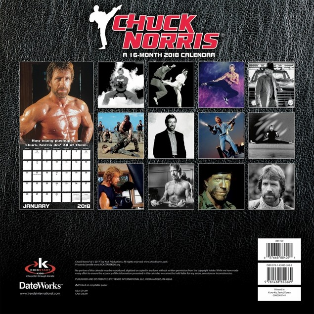 Chuck Norris Wall Calendar, Male Movie Stars by Calendars