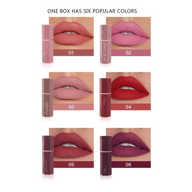 6Pcs Matte Non-stick Cup Non-fading Lipstick Matte Long-lasting Makeup