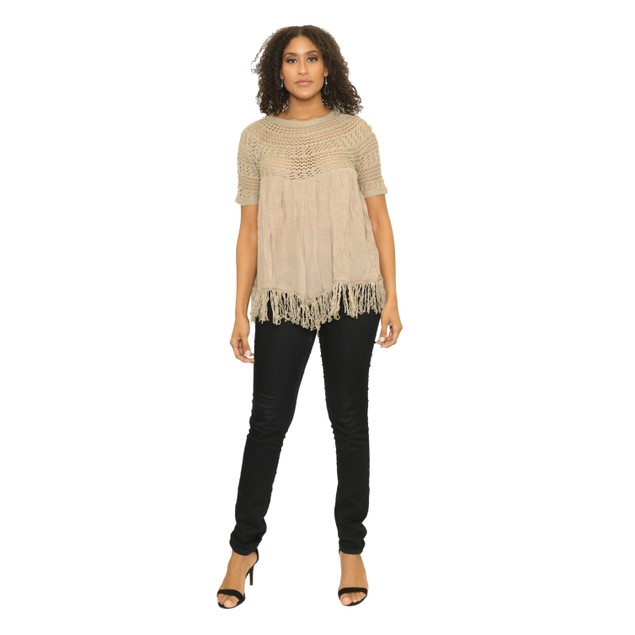 Crochet elbow Sleeve Top with fringes