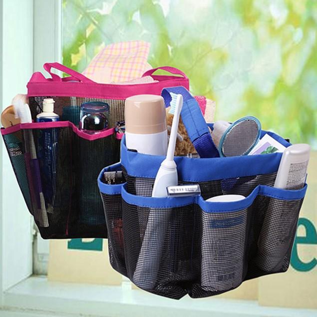 Bathroom Shower Mesh 8 Pocket Portable Quick Dry Outdoor Travel Tote Bag